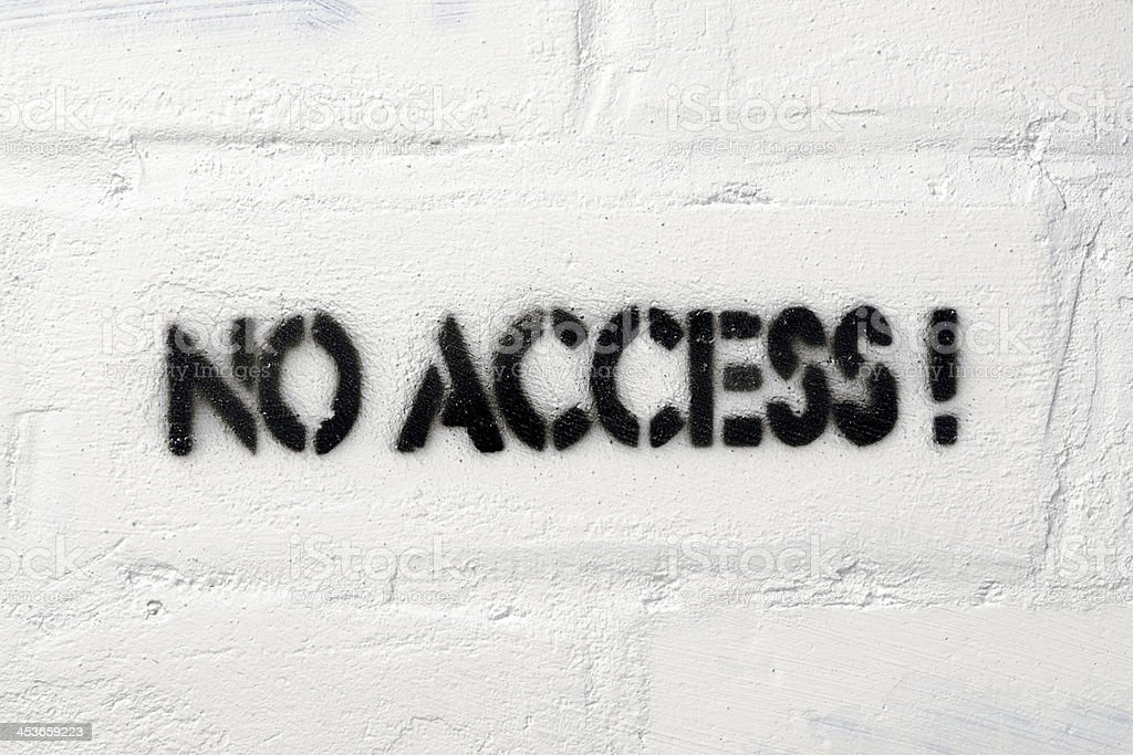 no access no access exclamation stencil print on the white brick wall Accessibility Stock Photo