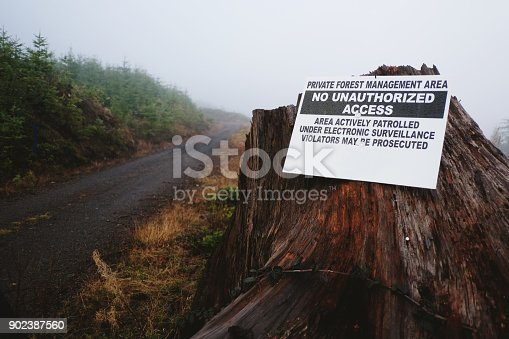 A no trespassing sign affixed to a tree stump in a logging area of the Pacific Northwest