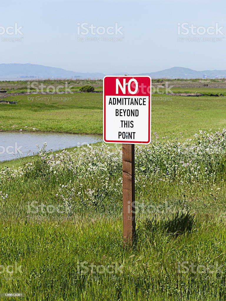 No Admittance sign on preserved land royalty-free stock photo