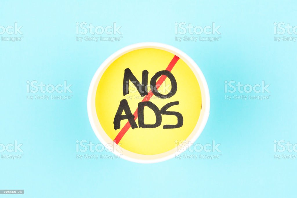 No ads symbol. Ads free sign. stock photo