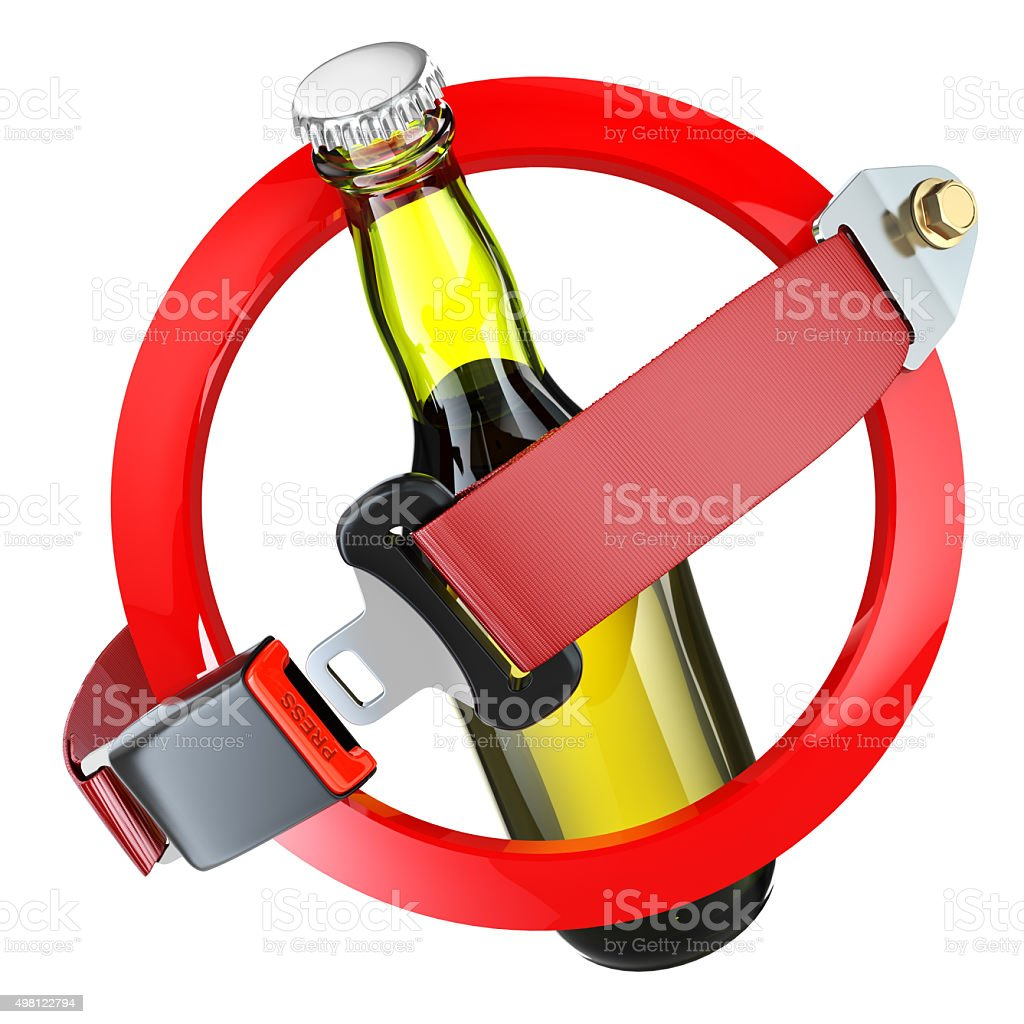 No alcohol sign concept. Bottle of beer and safety belt stock photo
