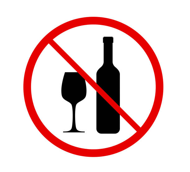 No alcohol sign in red prohibition circle isolated on white background, illustration stock photo