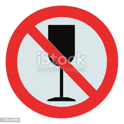 istock No alcohol sign, isolated drink prohibition zone crossed goblet signage 185449694