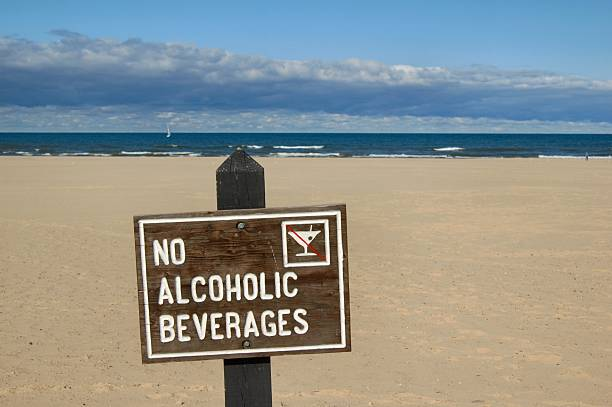 No Alcoholic Beverages Sign at Michigan Beach stock photo
