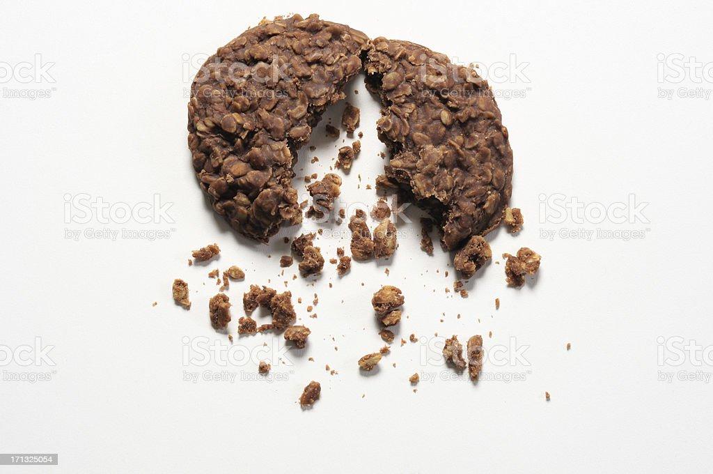 No bake cookie broke in half stock photo