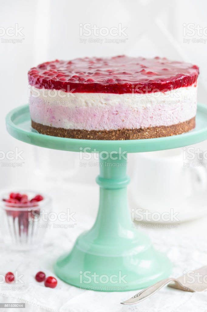 no baked cranberry  cheesecake stock photo