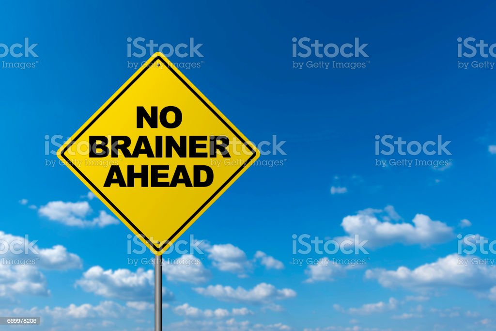 No Brainer Ahead - Road Warning Sign stock photo