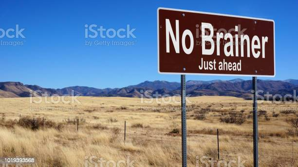 No brainer brown road sign with blue sky picture id1019393568?b=1&k=6&m=1019393568&s=612x612&h=pdt3exgdonuzk2y aqisgw 5c3gfqb7ln8sctyjx8aq=
