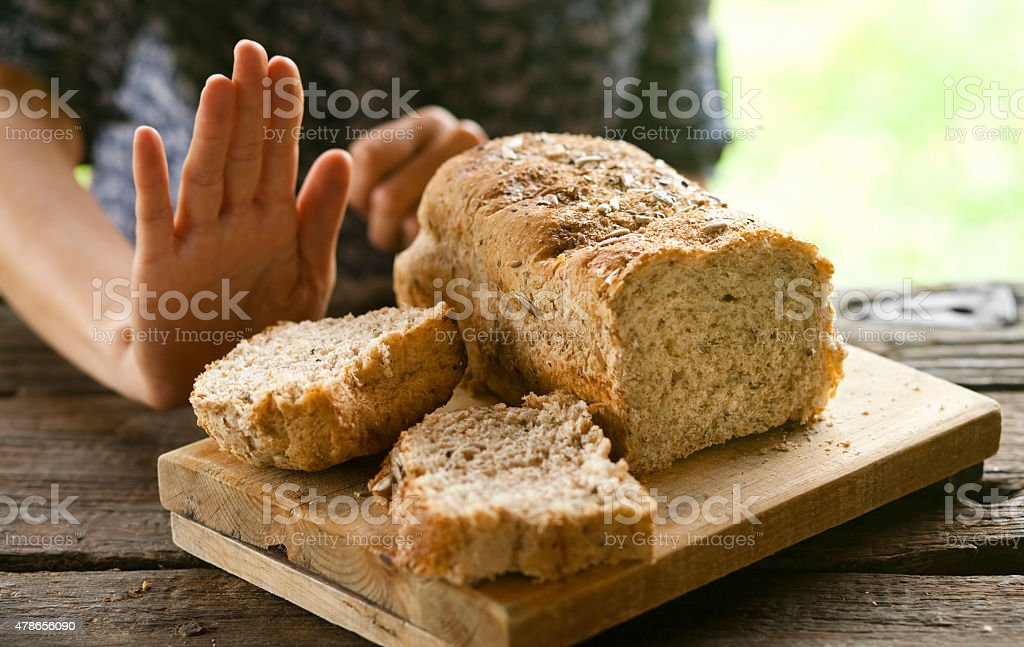 No bread, thanks: gluten-free concept stock photo