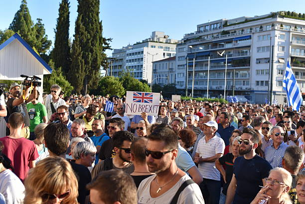 No Brexit slogan during a greek Protest stock photo
