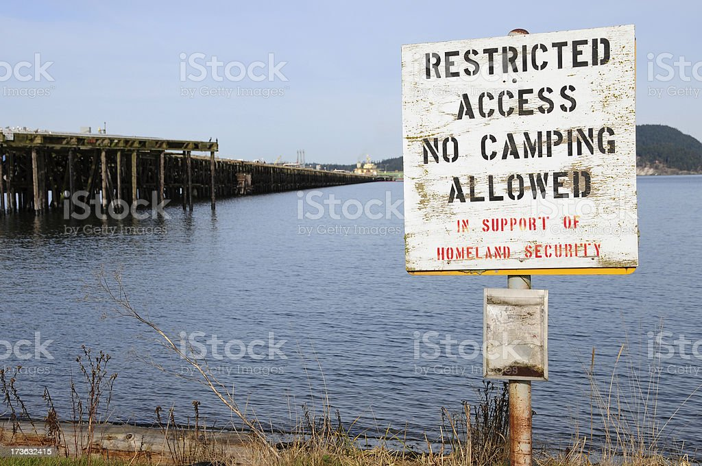 No camping allowed in support of homeland security royalty-free stock photo