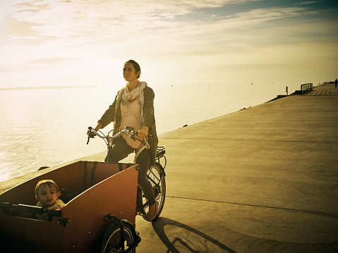 Shot of a young woman going for a bicycle ride with her son in a cart along the promenade