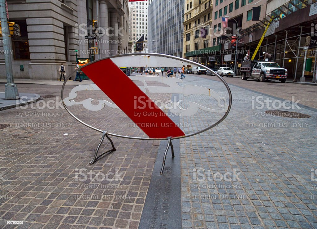 No cars road sign near the New York Stock Exchange stock photo