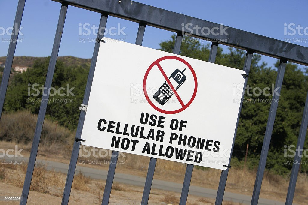 No cell phone allowed sign stock photo