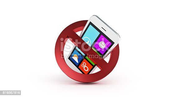 istock No cell phone sign. 3d rendering 819367816