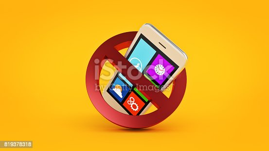 istock No cell phone sign. 3d rendering 819378318