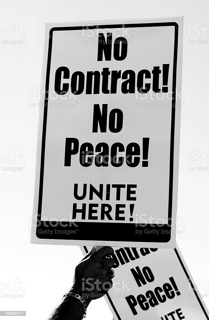 No Contract Sign Held by Hand in Protest Close Up royalty-free stock photo