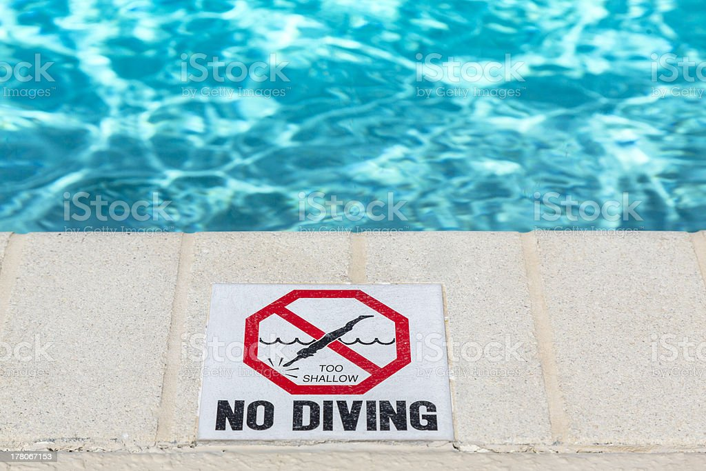 No diving sign at the poolside royalty-free stock photo