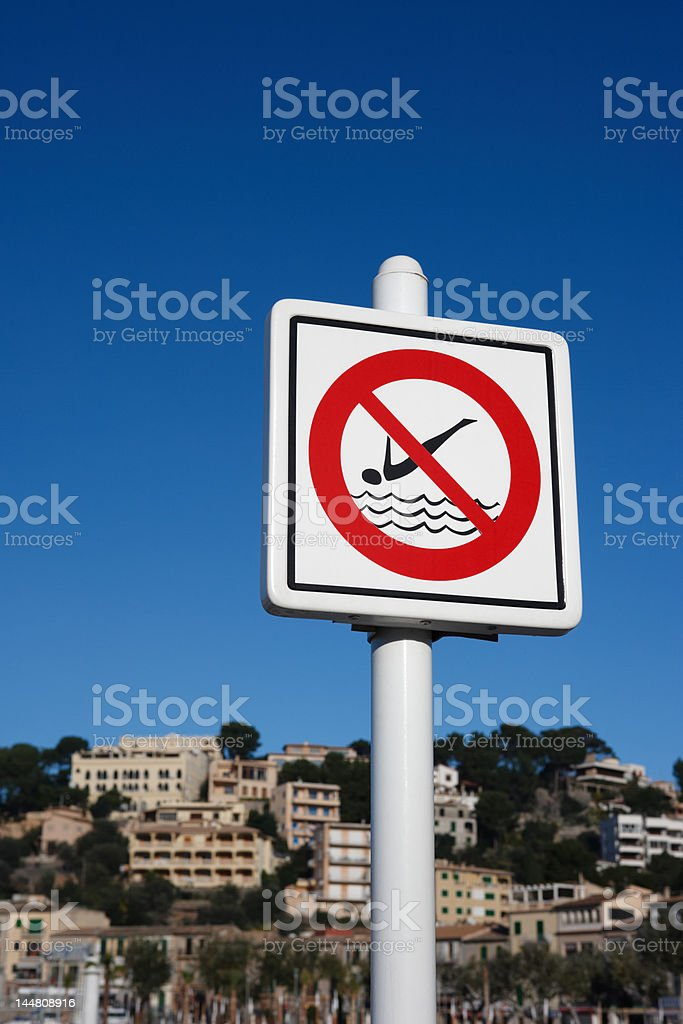 no diving sign royalty-free stock photo