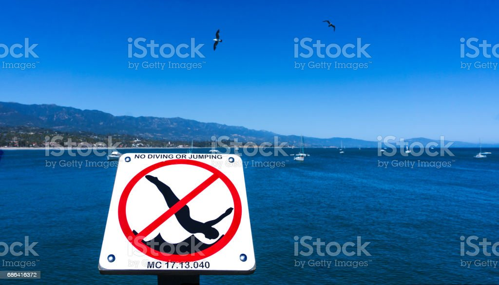 No diving sign with the ocean as background stock photo