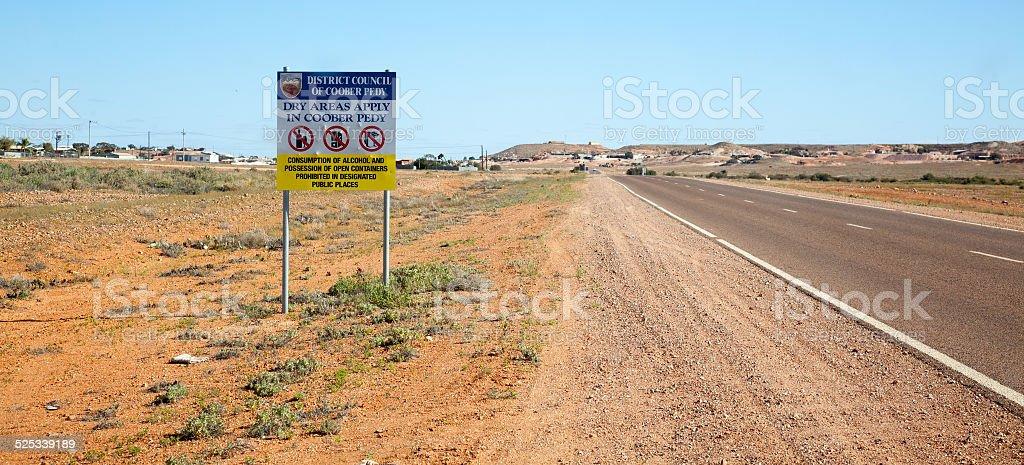 No drinking sign Coober Pedy Australia stock photo