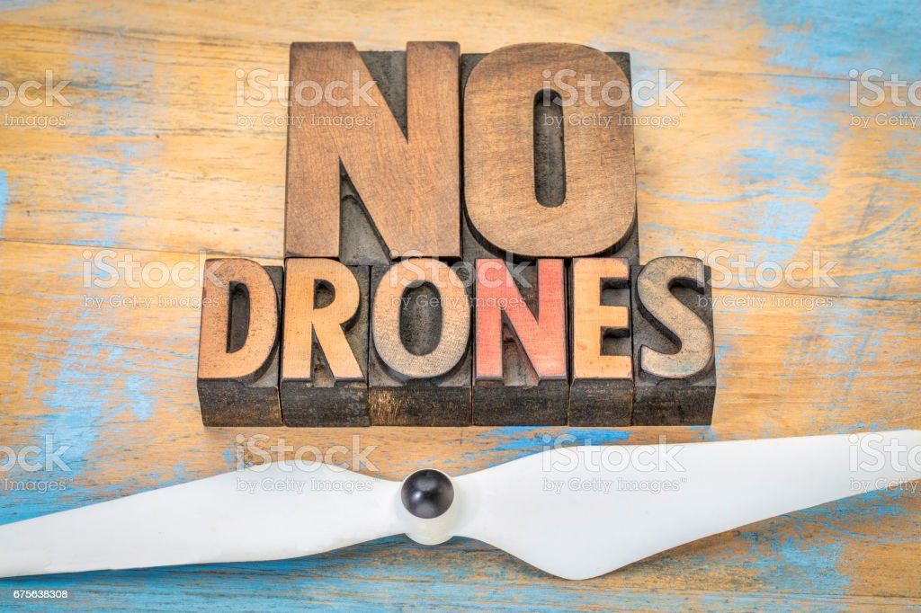 No drones sign or banner in wood type royalty-free stock photo