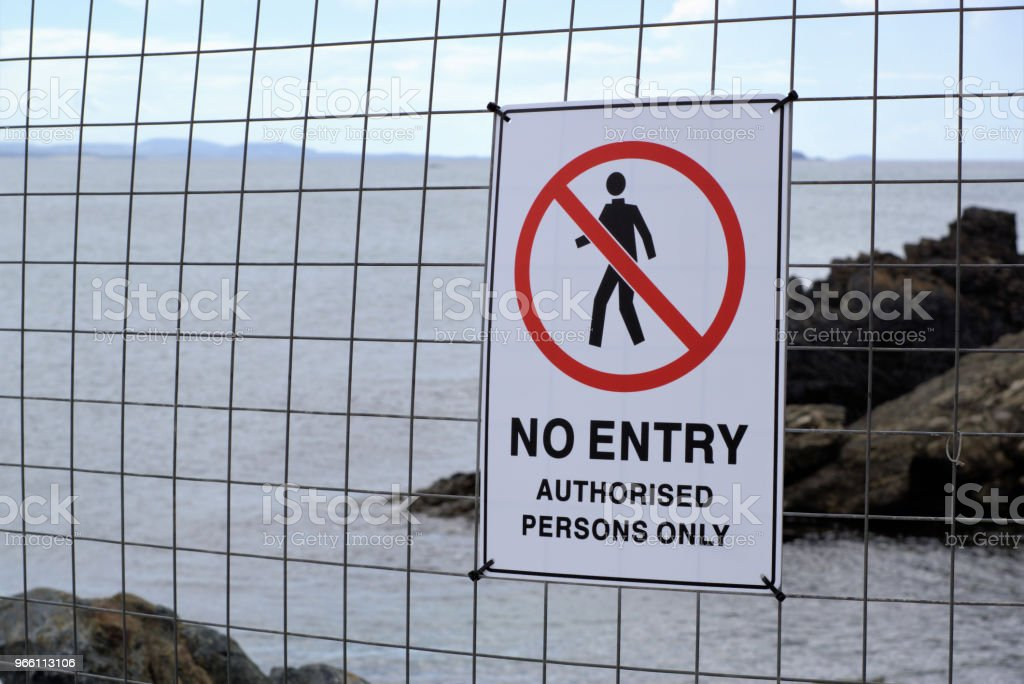 'No Entry Authorised Persons Only' near sea in Australia - Royalty-free Australia Stock Photo