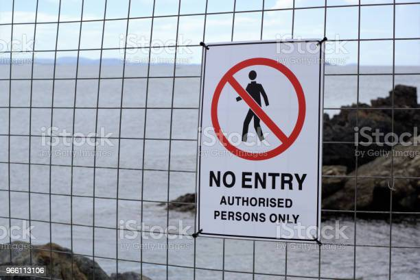 No Entry Authorised Persons Only Near Sea In Australia Stock Photo - Download Image Now