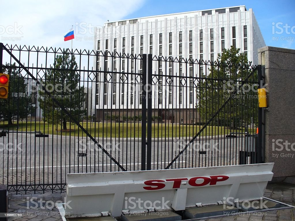 No entry on Russian Embassy today stock photo
