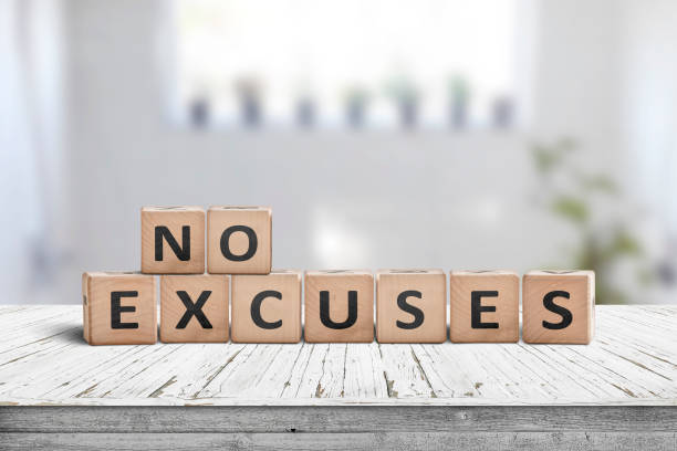 No excuses sign in a bright room stock photo