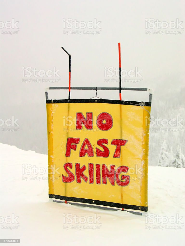 No Fast Skiing Sign stock photo