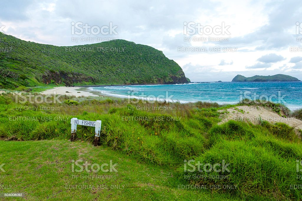No fishing allowed on Ned's Beach Lord Howe Island stock photo