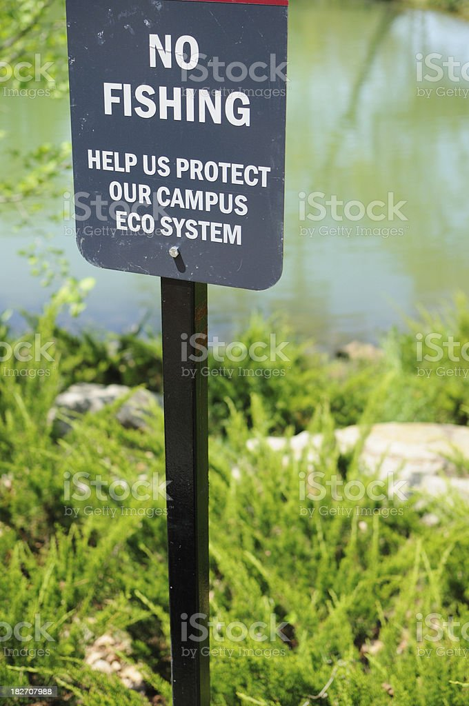 No fishing on campus stock photo