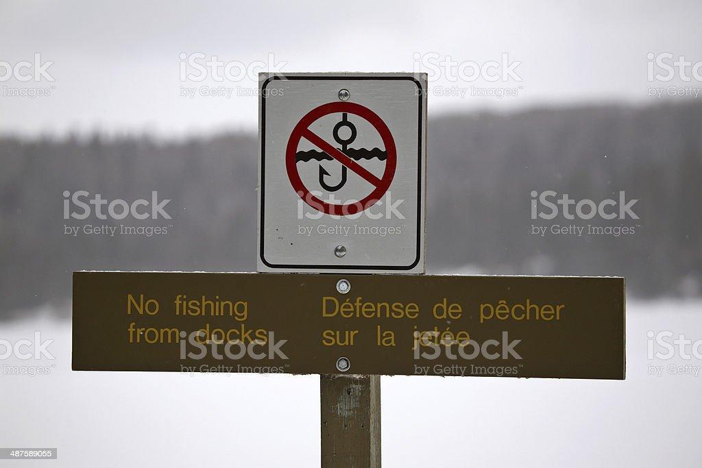 No Fishing sign at the Narrows of Waskesui Lake stock photo
