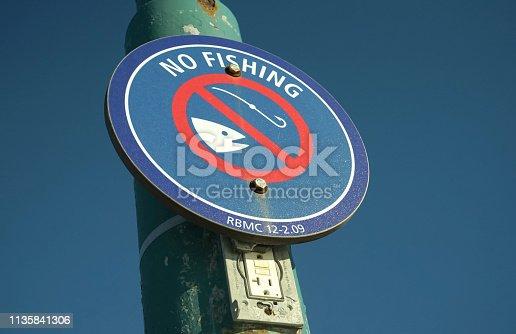 shot of no fishing sign