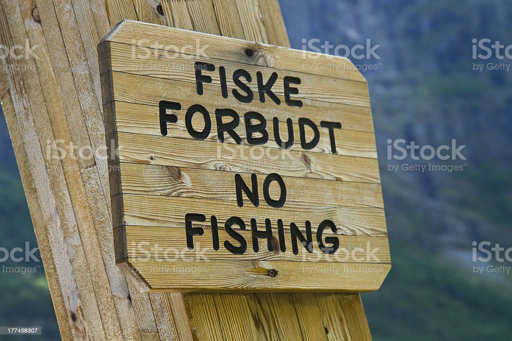 no fishing sign royalty-free stock photo