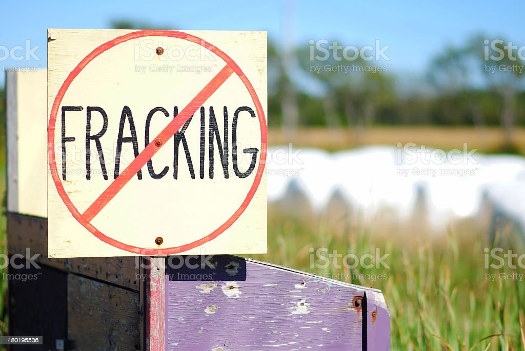 No Fracking Sign in Rural Setting stock photo