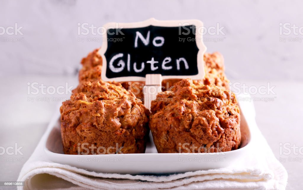 No gluten muffins on plate stock photo