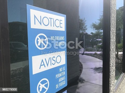 No Gun Window Sign Stock Photo & More Pictures of Blue