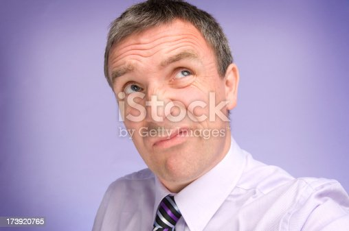 40 year old businessman looks up for inspiration but doesn't hold much hope .