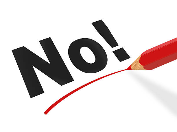 No! Inscription Rejection. Inscription No! underlined by red pencil single word no stock pictures, royalty-free photos & images