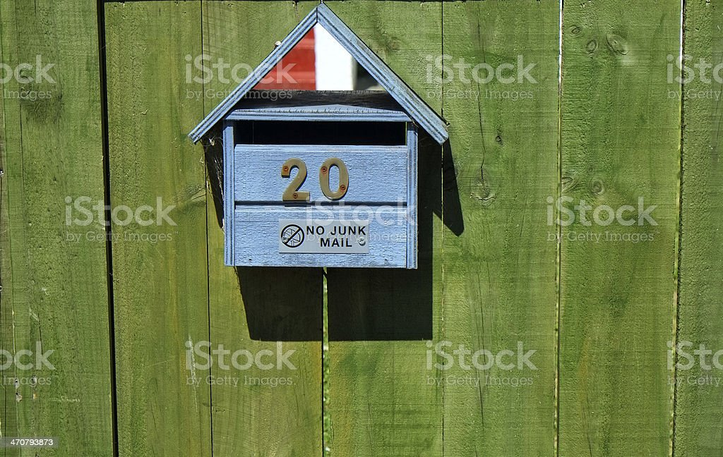 No junk mail sign on letterbox stock photo