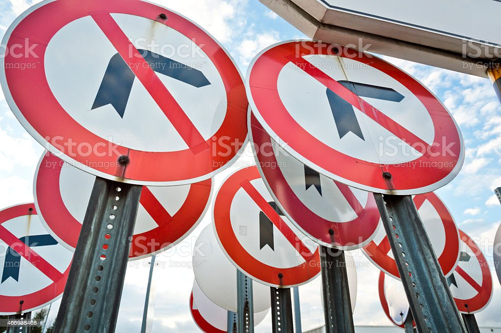 No Left Right Turn Sign stock photo