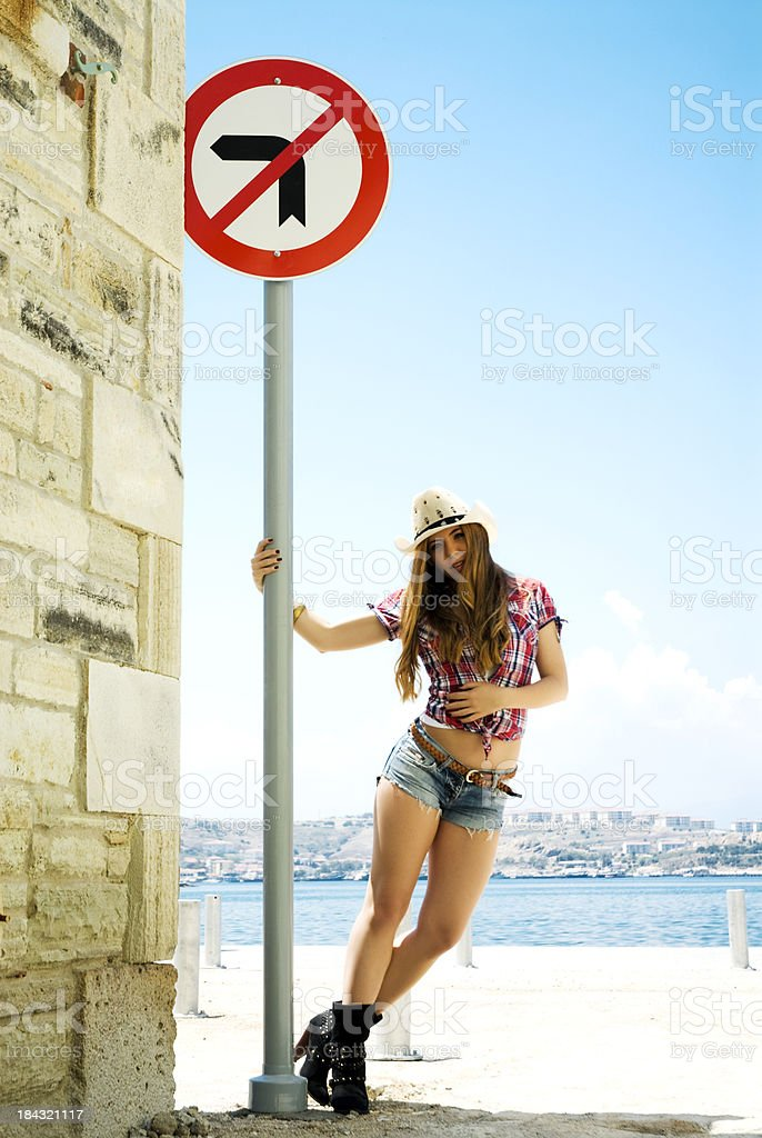 No Left Turn royalty-free stock photo