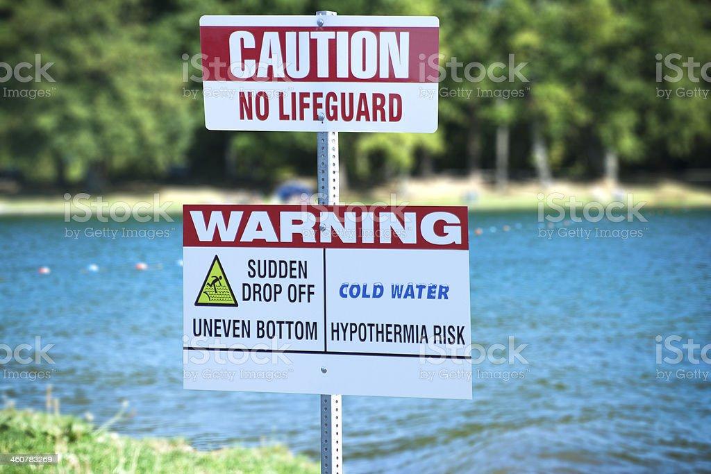 No Lifeguard Sign stock photo