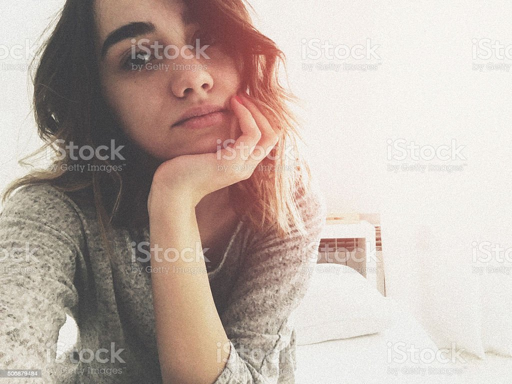 No make-up selfie stock photo