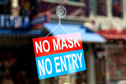 No Mask No Entry Open Sign Stock Photo - Download Image Now