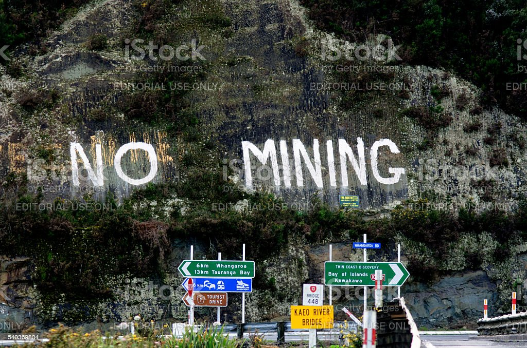 No Mining protest in New Zealand stock photo