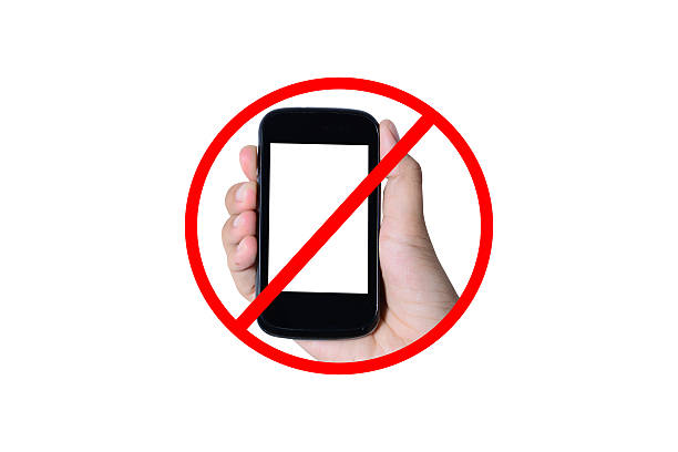 no mobile phones sign stock photo