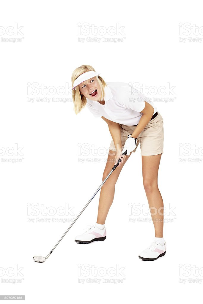 No, not the sand trap!! stock photo